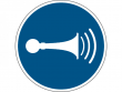 28: Gebotsschild - Hupen (gemäß DIN EN ISO 7010, ASR A1.3)