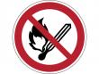 3: Verbotsschild - Keine offene Flamme, Feuer, offene Zündquelle und Rauchen verboten (gemäß DIN EN ISO 7010, ASR A1.3)