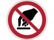 9: Verbotsschild - Berühren verboten (gemäß DIN EN ISO 7010, ASR A1.3)